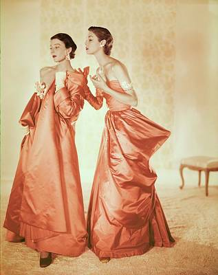 Photograph - Models In Orange Silk Gowns by Horst P. Horst