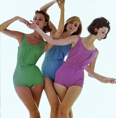 Photograph - Models In Rose Marie Reed Swimsuits by Bert Stern