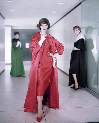 Photograph - Models In Satin Coats And Dresses by Horst P. Horst