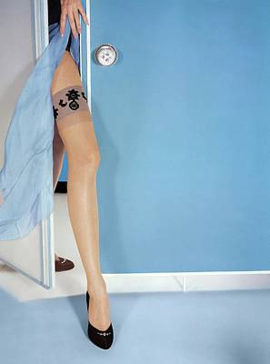 Photograph - Model's Leg In Van Raalte Stockings by Horst P. Horst