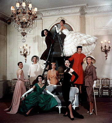 Photograph - Models Wearing Latest Dress Designs by Loomis Dean