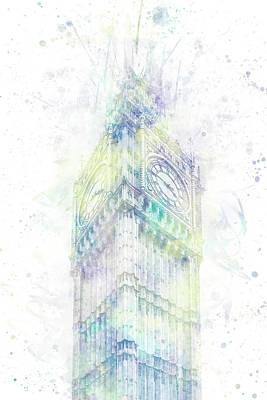 Photograph - Modern Art Big Ben - Pastel Watercolor  by Melanie Viola