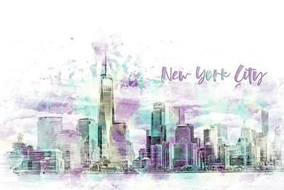 Digital Art - Modern Art Nyc Manhattan Skyline - Jazzy Watercolor  by Melanie Viola