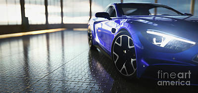 Stellar Interstellar - Modern blue coupe sports car in showroom by Michal Bednarek