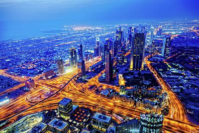 Photograph - Modern Dubai Cityscape At Twilight by Mbbirdy