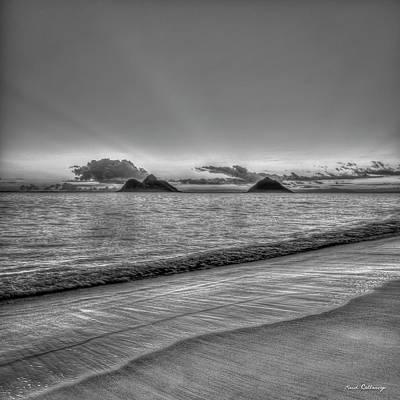 Photograph - Mokulua Islands B W Lanikai Beach Sunrise Oahu Hawaii Art by Reid Callaway