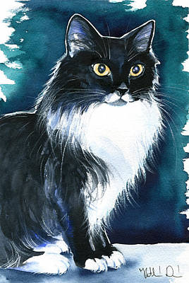 Painting - Molly Long Haired Tuxedo Cat Painting by Dora Hathazi Mendes