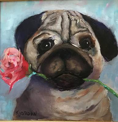 Karen Jordan Wall Art - Painting - Molly Pug by Karen Jordan