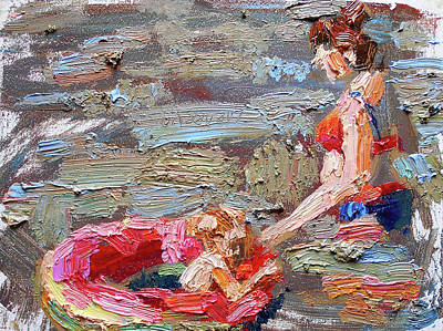 Painting - Mom with daughter by Valerie Lazareva