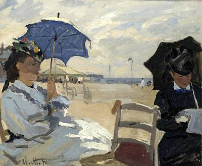 Vintage College Subway Signs Color - MONET, Claude - The Beach at Trouville by European Paintings