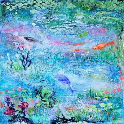 Mixed Media - Monet Pond by Anne Stine
