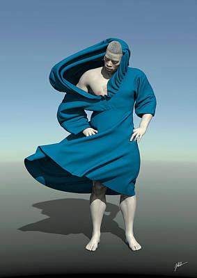 Storytellers Wall Art - Digital Art - Monk In Blue by Joaquin Abella