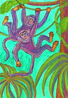 Painting - Monkeys On Creepers by Dobrotsvet Art