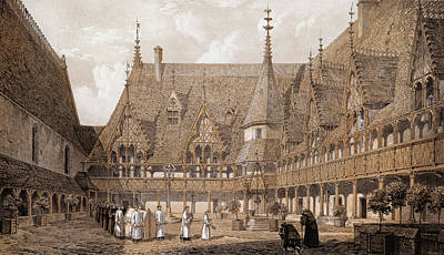 Monks At The Hotel Dieu Art Print by Hulton Archive