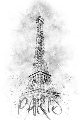 Photograph - Monochrome Art Eiffel Tower - Watercolor by Melanie Viola