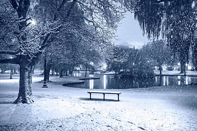 Photograph - Monochrome Blue Nights Boston Snowfall In The Boston Public Garden Boston Ma Pond by Toby McGuire