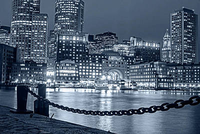 Photograph - Monochrome Blue Nights Boston Waterfront In Red White And Blue Boston Ma by Toby McGuire