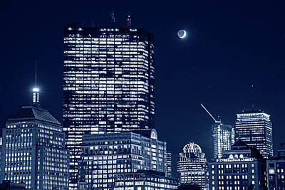 Photograph - Monochrome Blue Nights The Moon Rising Over Back Bay And The Boston Common Boston Ma by Toby McGuire