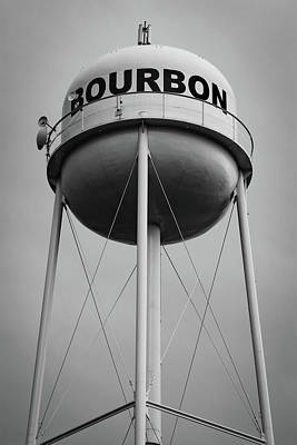 Photograph - Monochrome Bourbon Whiskey Water Tower by Gregory Ballos