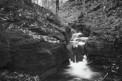 Photograph - Monochrome Falls - Compton Gardens In Northwest Arkansas by Gregory Ballos