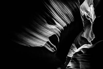 Photograph - Monochrome Light And Shadows Of Arizona's Antelope Canyon by Gregory Ballos