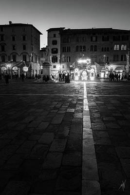 Photograph - Monochrome Nativity - Black And White Christmas Lights In Lucca, Tuscany, Italy by Matteo Viviani