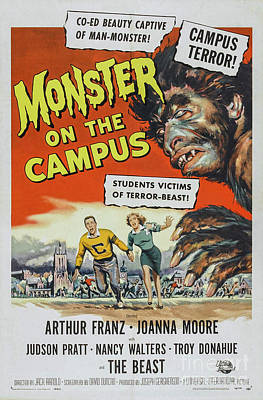 Science Fiction Drawings - Monster on the campus movie poster by Restored archives