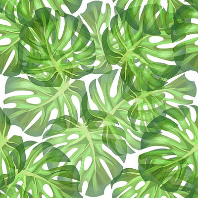 Royalty-Free and Rights-Managed Images - Monstera Leaf Pattern 2 - Tropical Leaf Pattern - Dark Green - Tropical, Botanical Pattern Design by Studio Grafiikka