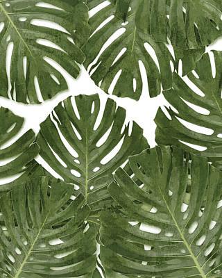 Mixed Media - Monstera Leaf Pattern - Green - Tropical, Botanical design - Modern, Minimal Decor by Studio Grafiikka