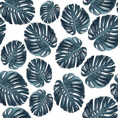 Mixed Media - Monstera Leaf Pattern - Tropical Leaf Pattern - Blue - Tropical, Botanical - Modern, Minimal Decor 1 by Studio Grafiikka