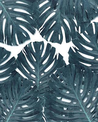 Mixed Media - Monstera Leaf Pattern - Tropical Leaf Pattern - Blue - Tropical, Botanical - Modern, Minimal Decor by Studio Grafiikka