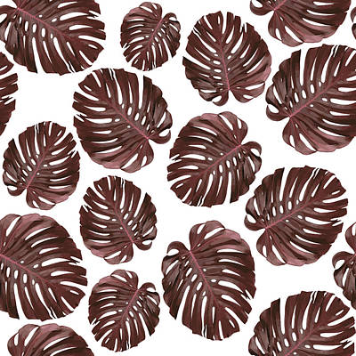 Mixed Media - Monstera Leaf Pattern - Tropical Leaf Pattern - Brown, Red - Tropical, Botanical - Modern, Minimal by Studio Grafiikka