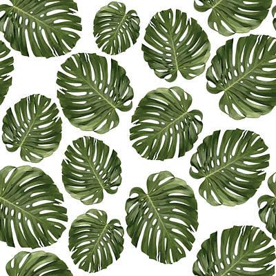 Mixed Media - Monstera Leaf Pattern - Tropical Leaf Pattern - Green - Tropical, Botanical - Modern, Minimal - 1 by Studio Grafiikka