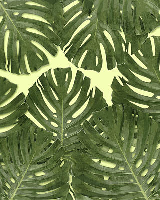 Royalty-Free and Rights-Managed Images - Monstera Leaf Pattern - Tropical Leaf Pattern - Green - Tropical, Botanical - Modern, Minimal Decor by Studio Grafiikka