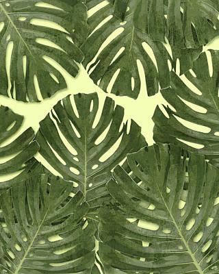 Mixed Media - Monstera Leaf Pattern - Tropical Leaf Pattern - Green - Tropical, Botanical - Modern, Minimal Decor by Studio Grafiikka