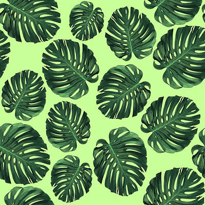 Royalty-Free and Rights-Managed Images - Monstera Leaf Pattern - Tropical Leaf Pattern - Green - Tropical, Botanical - Modern, Minimal Design by Studio Grafiikka