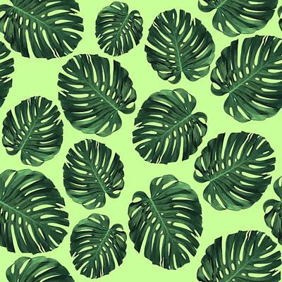 Mixed Media - Monstera Leaf Pattern - Tropical Leaf Pattern - Green - Tropical, Botanical - Modern, Minimal Design by Studio Grafiikka