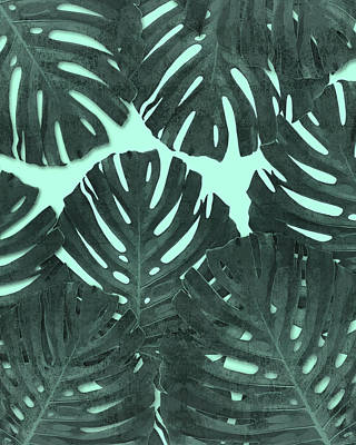 Royalty-Free and Rights-Managed Images - Monstera Leaf Pattern - Tropical Leaf - Teal - Tropical, Botanical - Modern, Minimal Decor by Studio Grafiikka