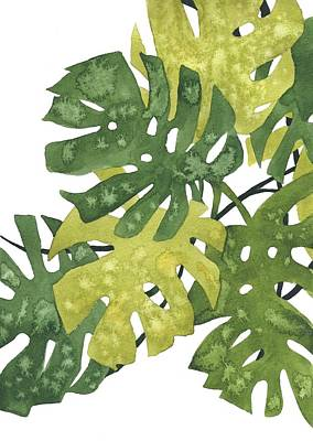 Painting - Monstera Leaves by Ina Petrashkevich