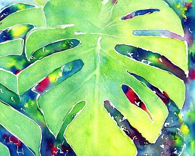 Painting - Monstera Tropical Leaves 1 by CarlinArt Watercolor