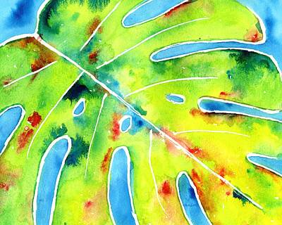 Painting - Monstera Tropical Leaves 5 by CarlinArt Watercolor