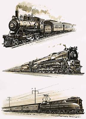 Steam Turbine Wall Art - Painting - Montage Of Us Trains by John S Smith