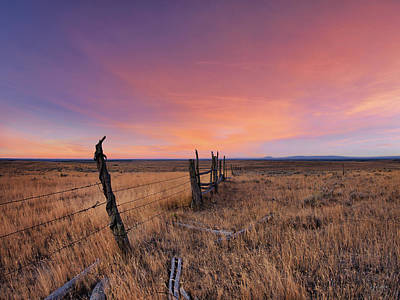 Barbed Wire Wall Art - Photograph - Montana Sunset by Leland D Howard