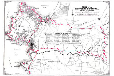 Photograph - Monterey Peninsula 1923 Map by California Views Archives Mr Pat Hathaway Archives