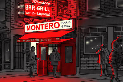 Drawing - Montero Bar And Grill  by Jorge Colombo