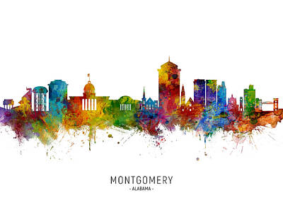 Digital Art - Montgomery Alabama Skyline by Michael Tompsett