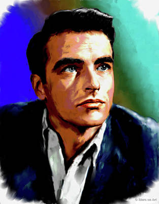 Curated Bath Towels - Montgomery Clift painting by Stars on Art