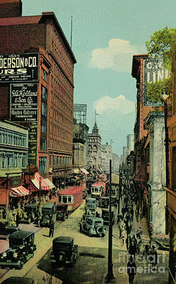 Pyrography -  Montreal Busy St. Catherine Street 1920s by Aapshop