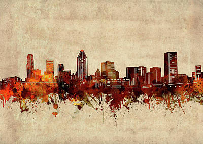 Abstract Skyline Royalty-Free and Rights-Managed Images - Montreal Skyline Sepia by Bekim M