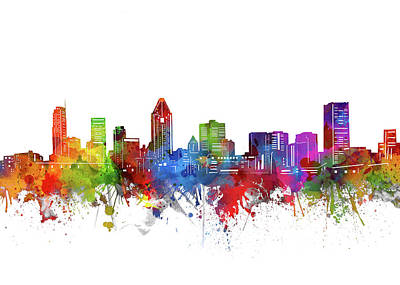 Abstract Skyline Royalty-Free and Rights-Managed Images - Montreal Skyline Watercolor 2 by Bekim M